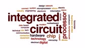 communication : Integrated circuit architecture animated word cloud, text design animation. Stock Footage
