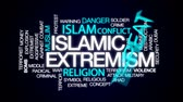 radical : Islamic extremism animated word cloud, text design animation.
