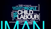 social worker : Child labour animated word cloud, text design animation.