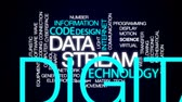 расчет : Data stream animated word cloud, text design animation.