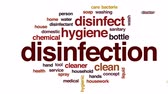 housekeeping : Disinfection animated word cloud, text design animation.
