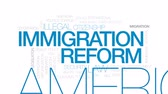 immigrate : Immigration reform animated word cloud, text design animation. Kinetic typography.