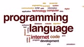 programlama : Programming language animated word cloud, text design animation.