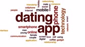 romantic screen : Dating app animated word cloud, text design animation. Stock Footage