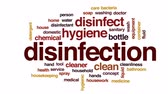 higiênico : Disinfection animated word cloud, text design animation.