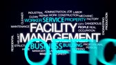 administrativo : Facility management animated word cloud, text design animation. Stock Footage