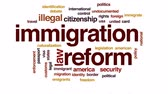debates : Immigration reform animated word cloud, text design animation.