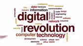industrial revolution : Digital revolution animated word cloud, text design animation.