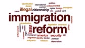 estados unidos : Immigration reform animated word cloud, text design animation.