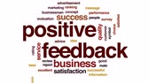 opinião : Positive feedback animated word cloud, text design animation.