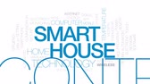 digitální tablet : Smart house animated word cloud, text design animation.  Kinetic typography.