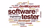 prototype : Software tester animated word cloud, text design animation.