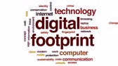 identify : Digital footprint animated word cloud, text design animation. Stock Footage