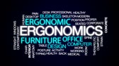 office furniture : Ergonomics animated word cloud, text design animation.