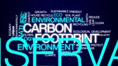 greenhouse : Carbon footprint animated word cloud, text design animation. Stock Footage