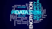 угроза : Data encryption animated word cloud, text design animation. Стоковые видеозаписи