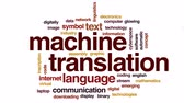 překlad : Machine translation animated word cloud, text design animation.