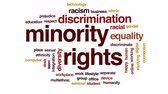 racism : Minority rights animated word cloud, text design animation.
