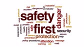 první pomoc : Safety first animated word cloud, text design animation.