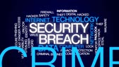 отпереть : Security breach animated word cloud, text design animation.