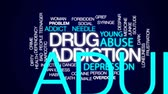 szokás : Drug addiction animated word cloud, text design animation.