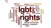 hoşgörü : LGBT rights animated word cloud, text design animation.