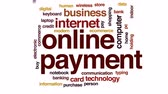 modern commerce : Online payment animated word cloud, text design animation.