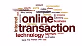 transação : Online transaction animated word cloud, text design animation.