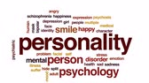 psychiatry : Personality animated word cloud, text design animation.
