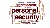 оператор : Personal security animated word cloud, text design animation. Стоковые видеозаписи
