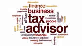 fatura : Tax advisor animated word cloud, text design animation. Stok Video