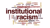 racism : Institutional racism animated word cloud, text design animation.