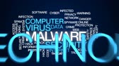 угроза : Malware animated word cloud, text design animation.