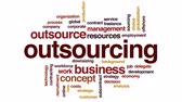tecnologia : Outsourcing animated word cloud, text design animation.