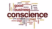karar vermek : Conscience design animated word cloud, text design animation. Stok Video