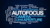 macro fotografia : Autofocus animated word cloud, text design animation.