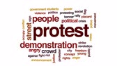 karşı : Protest animated word cloud, text design animation. Stok Video