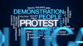 protester : Protest animated word cloud, text design animation. Stock Footage