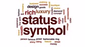 chamtivost : Status symbol animated word cloud, text design animation.