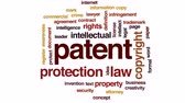 registrar : Patent animated word cloud, text design animation.