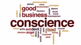 suçluluk : Conscience design animated word cloud, text design animation. Stok Video