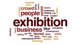 экспонат : Exhibition animated word cloud, text design animation. Стоковые видеозаписи