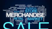 butik : Merchandise animated word cloud, text design animation. Wideo