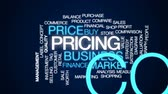 evaluation : Pricing animated word cloud, text design animation.