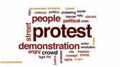 ocupações : Protest animated word cloud, text design animation. Stock Footage