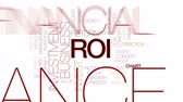 negócio : ROI animated word cloud, text design animation. Kinetic typography.