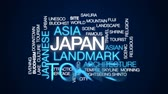 word cloud : Japan animated word cloud, text design animation.