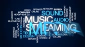 estéreo : Music streaming animated word cloud, text design animation.
