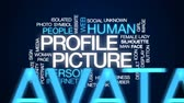 ismeretlen : Profile picture animated word cloud, text design animation. Stock mozgókép