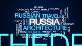 red square : Russia animated word cloud, text design animation.
